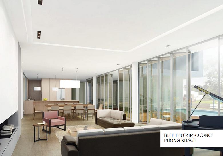Phòng khách biệt thự đơn lập kim cương The Manor Central Park