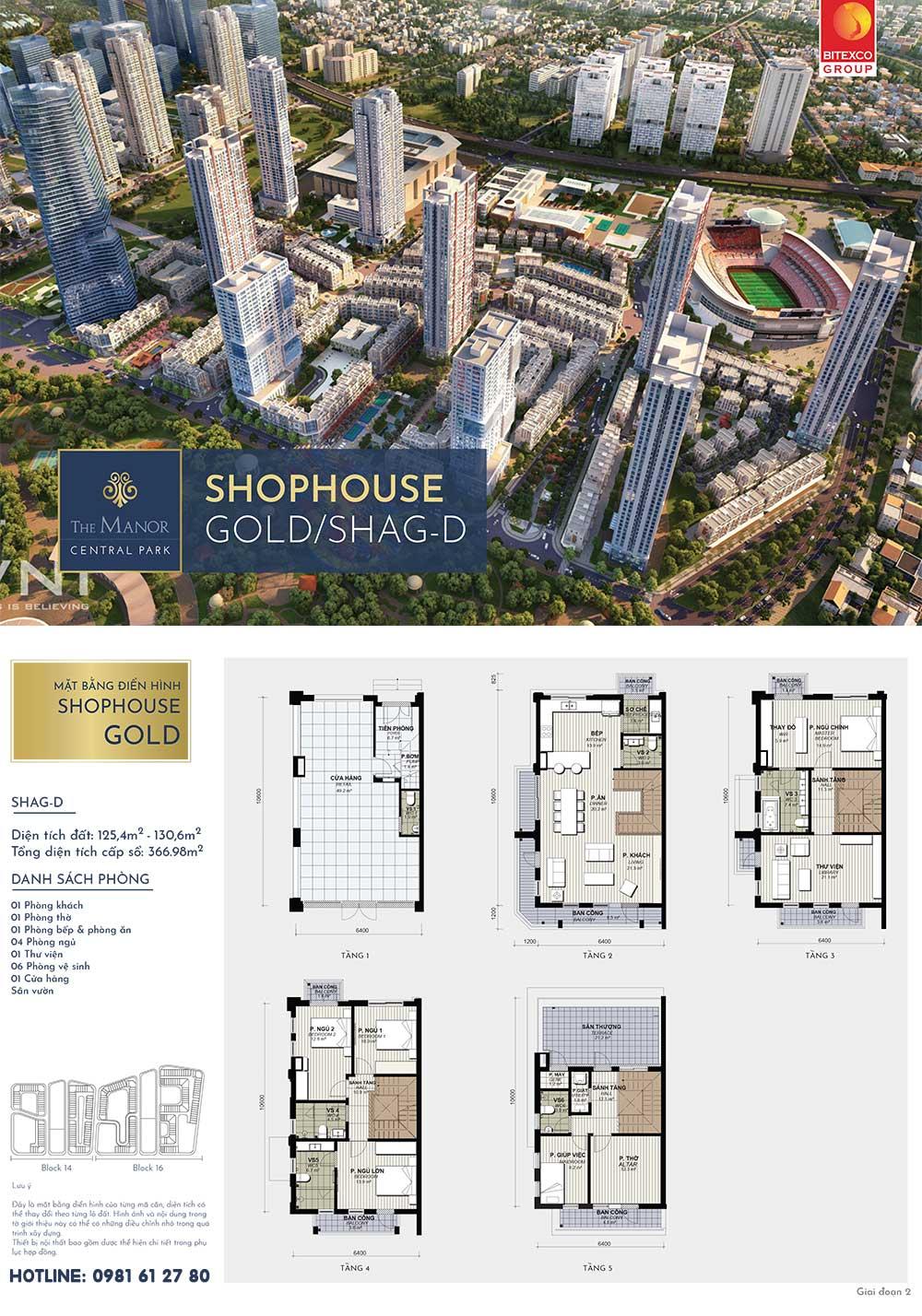Mặt bằng thiết kế shophouse Vàng The Manor Central Park mẫu SHAG-D