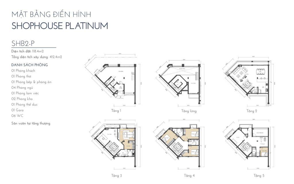 Mặt bằng điển hình Shophouse Platinum SHBD2-P The Manor Central Park