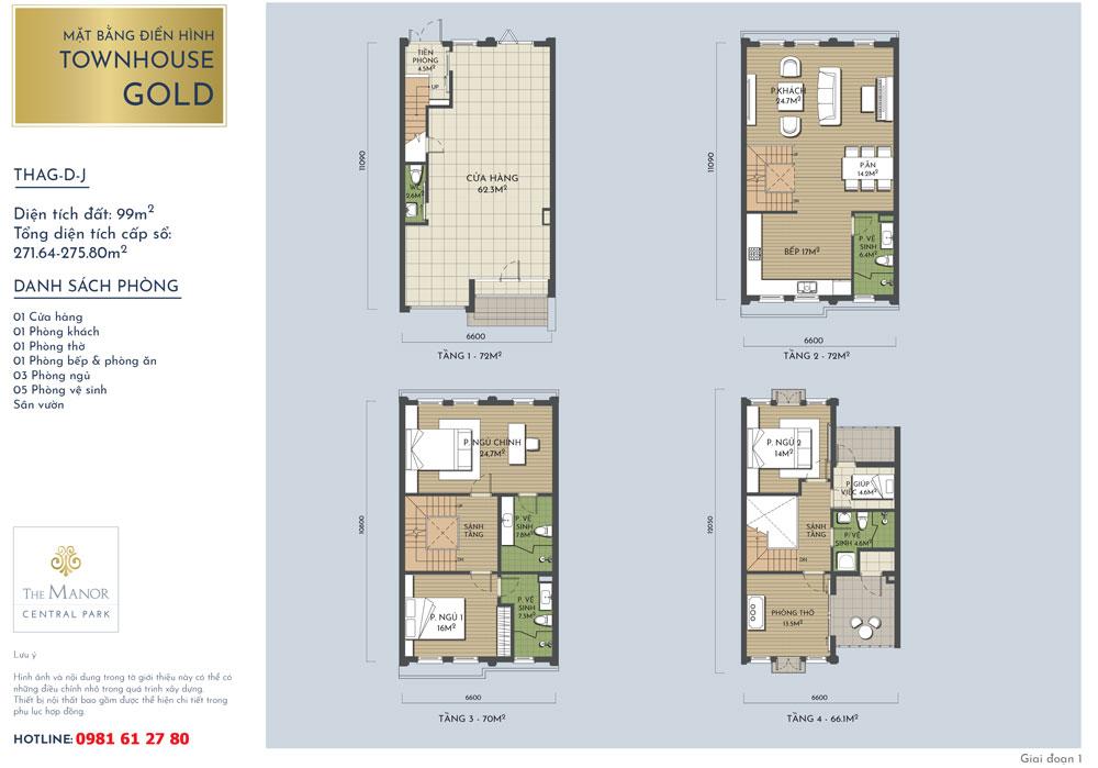 Mặt bằng thiết kế nhà liền kề Vàng The Manor Central Park mẫu THAG-D-J 2