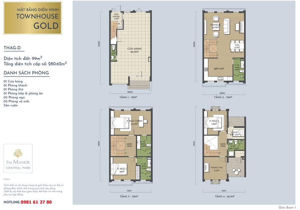 Mặt bằng thiết kế nhà liền kề Vàng The Manor Central Park mẫu THAG-D 2