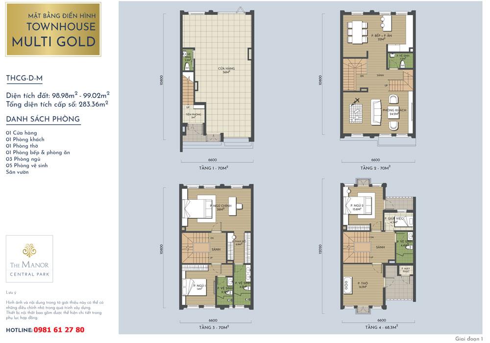 Mặt bằng thiết kế nhà liền kề Vàng The Manor Central Park mẫu THCG-D-M 2