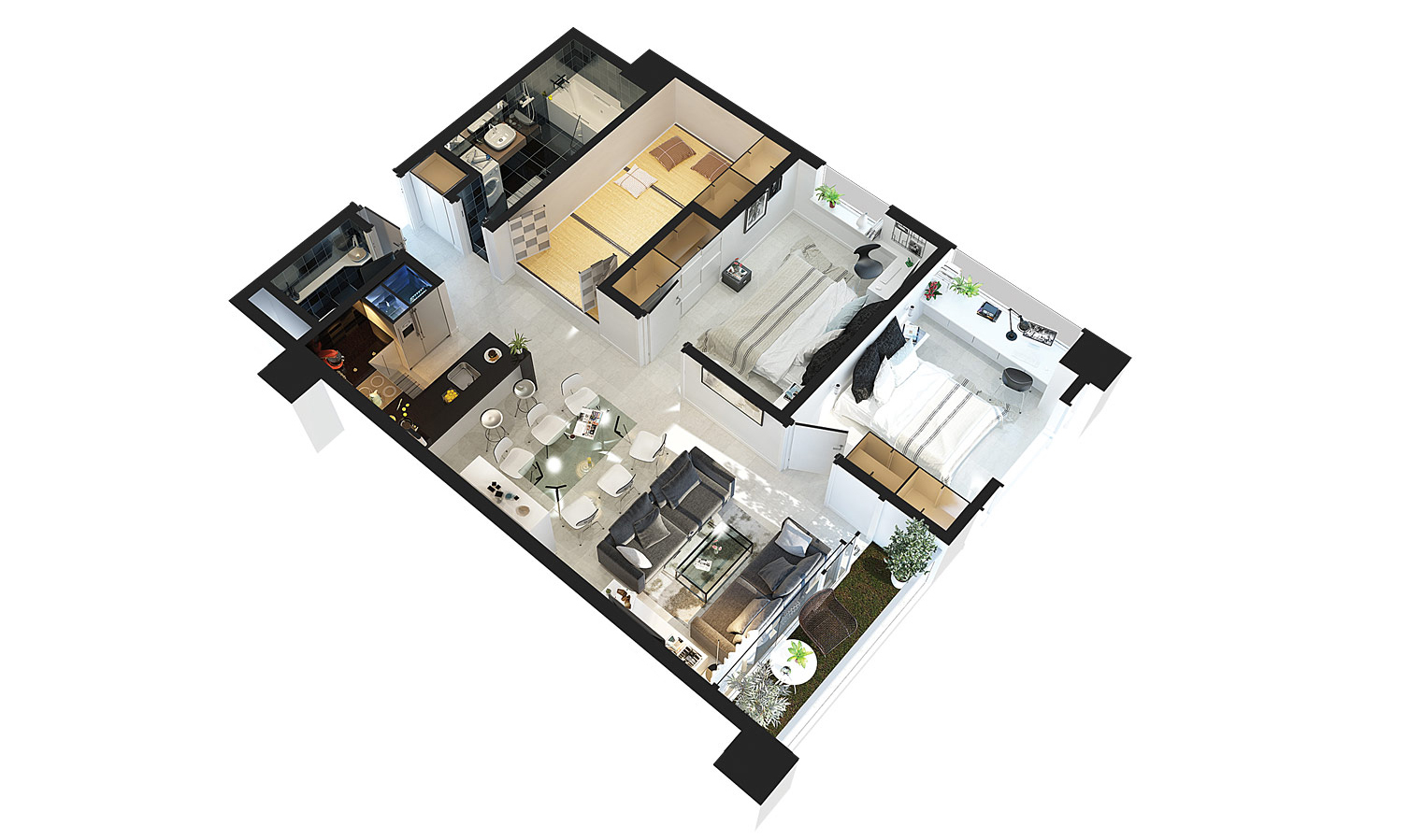 Mặt bằng căn hộ chung cư điển hình B2