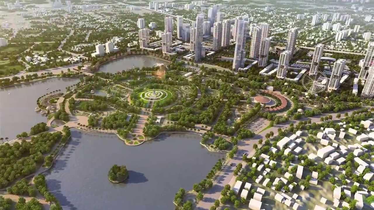 Phối cảnh tổng thể dự án The Manor Central Park nhìn từ phía công viên Chu Văn An