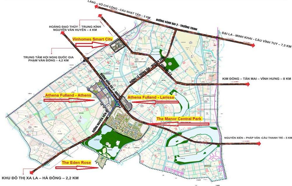 Bản đồ quy hoạch các dự án phía Tây Nam - Hà Nội