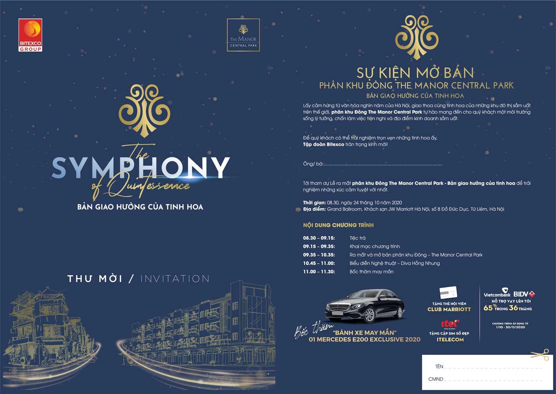 Vé mời tham gia sự kiện giới thiệu phân khu Đông - The Symphony of Quintessence  tổ chức tại KS JW Marriott ngày 24/10/2020