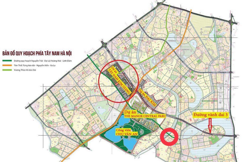 Bản đồ quy hoạch đại lộ Hoàng Mai Phía Tây Nam Hà Nội