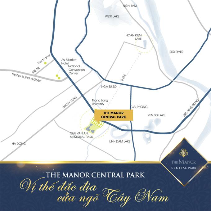 Vị trí dự án The Manor Central Park Nghiêm Xuân Yêm